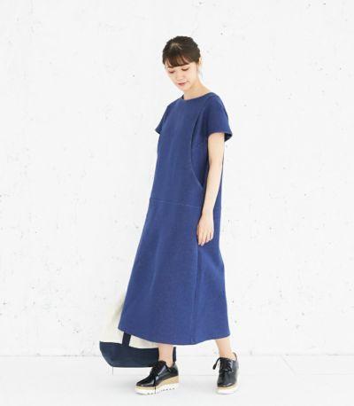 フロントスタイル 授乳服 変わり袖切替ワンピース(ネイビー) 160cm