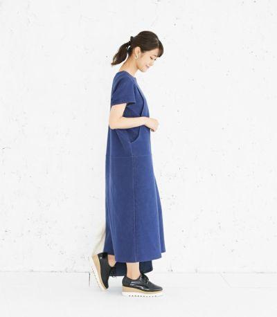 サイドスタイル 授乳服 変わり袖切替ワンピース(ネイビー) 160cm