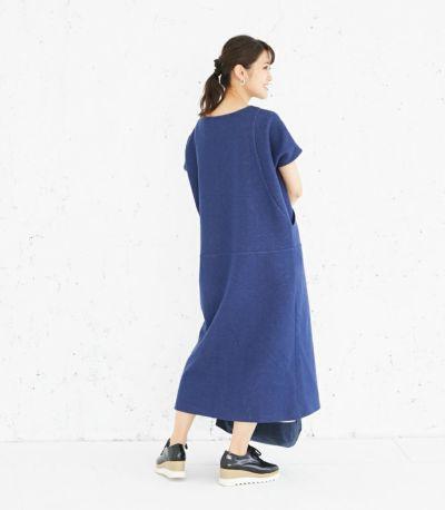 バックスタイル 授乳服 変わり袖切替ワンピース(ネイビー) 160cm