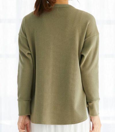 バックスタイル 授乳服 ワッフルロンT カーキ 164cm