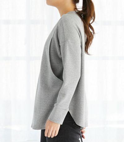 サイドスタイル 授乳服 ワッフルロンT グレー 161cm