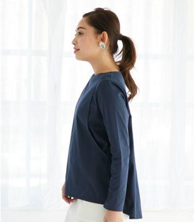 サイドスタイル 授乳服 バックフレアーカットソー チャコール 161cm