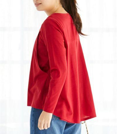 サイドスタイル 授乳服 バックフレアーカットソー レッド 161cm