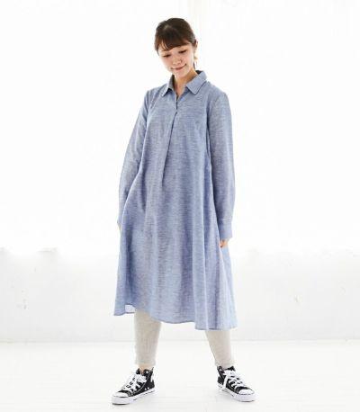フロントスタイル 授乳服 コットンリネンシャツワンピース ブルー 161cm