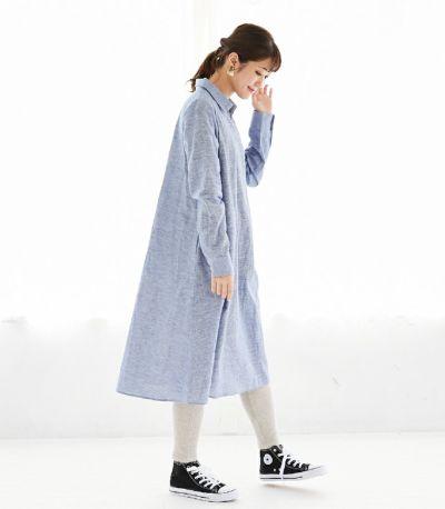 サイドスタイル 授乳服 コットンリネンシャツワンピース ブルー 161cm