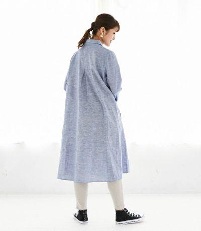 バックスタイル 授乳服 コットンリネンシャツワンピース ブルー 161cm
