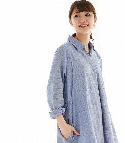 フロントスタイル 授乳服 コットンリネンシャツワンピース ブラック(ギンガム) 164cm