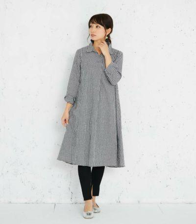 バックスタイル 授乳服 コットンリネンシャツワンピース ブラック(ギンガム) 164cm