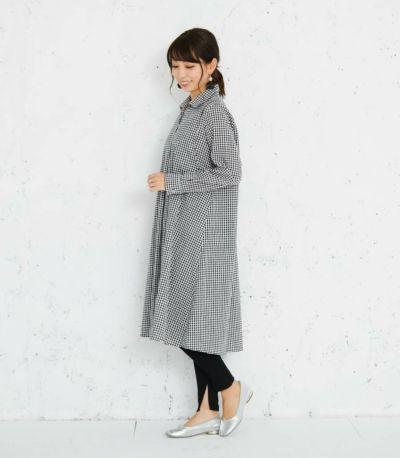 授乳服 コットンリネンシャツワンピース ブラック(ギンガム) 164cm