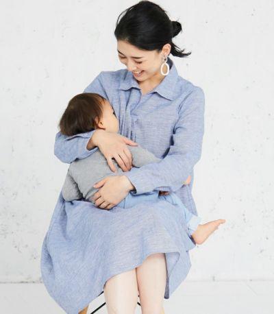 授乳服 コットンリネンシャツワンピース ブルー 167cm