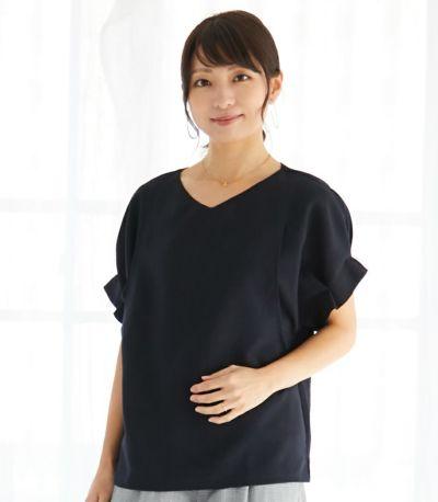 タックショートスリーブブラウス 授乳服 マタニティ服 日本製
