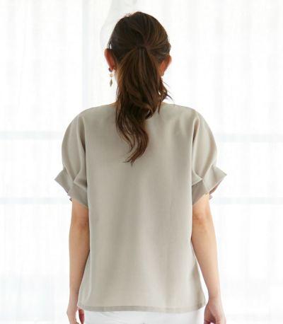 授乳服 タックショートスリーブブラウス ベージュ 161cm