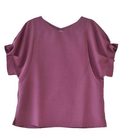 ピンク:落ち着いた大人ピンク 授乳服 タックショートスリーブブラウス