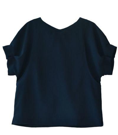 ネイビー:シックなネイビー 授乳服 タックショートスリーブブラウス