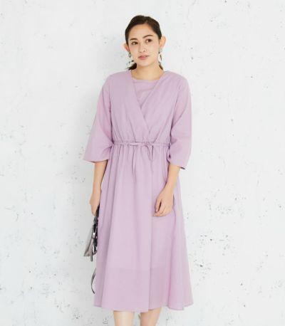 カシュクールワンピース<br>授乳服 マタニティ服 日本製