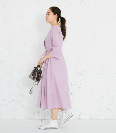 サイドスタイル 授乳服 カシュクールワンピース ラベンダー 161㎝
