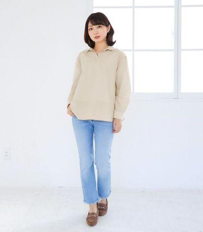 フロントスタイル 授乳服 オーガニックコットンシャツ ネイビー 161㎝