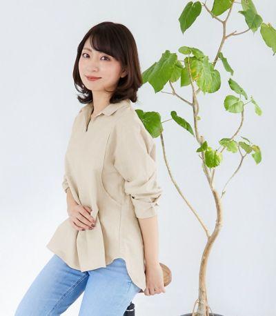 サイドスタイル 授乳服 オーガニックコットンシャツ ネイビー 161㎝