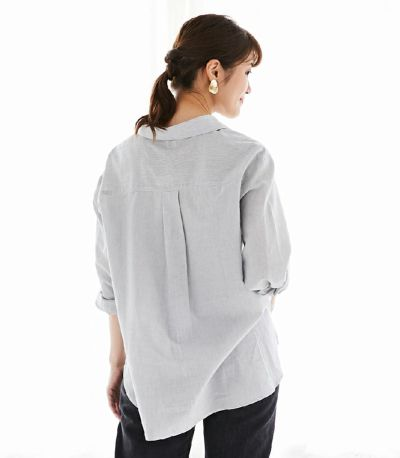 授乳服 オーガニックコットンシャツ ネイビー 161㎝