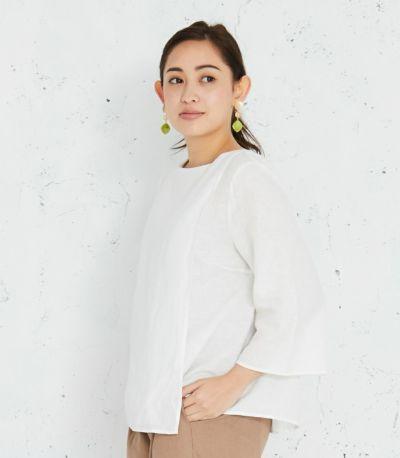 授乳服 コットンリネンプルオーバー ホワイト 161cm