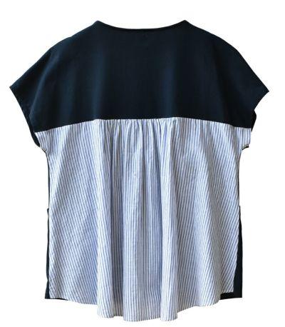 バックストライプカットソー 授乳服 マタニティ服 日本製