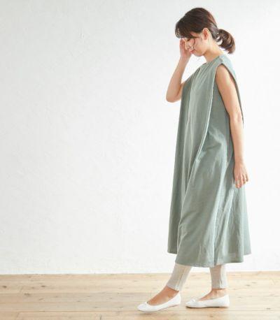 タックノースリーブワンピース 授乳服 マタニティ服 日本製